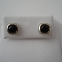 Sterling Silver 925 Square Onyx Earrings Pierced Black Onyx 925 Ear Rings