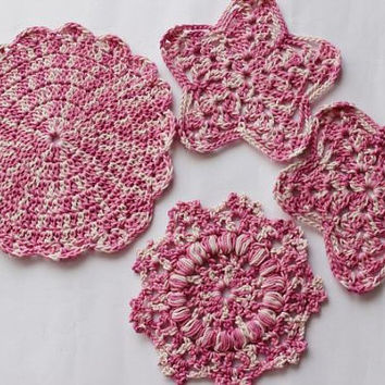 Pink Crochet Kitchen Set - Set of Four