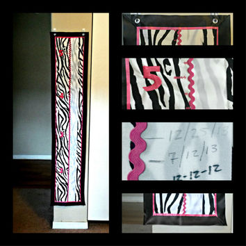 Zebra and Hot pink Growth Chart (animal print, cloth, fabric, keepsake, hanging)
