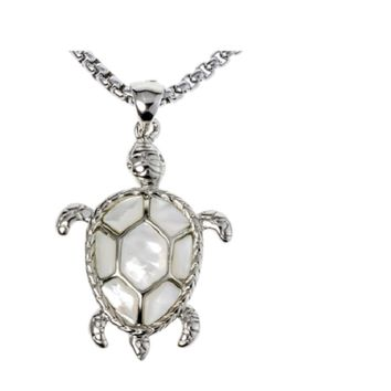 Natural abalone shell turtle necklace pendant