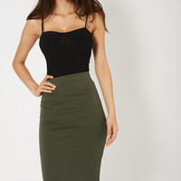 Army Green Midi Skirt