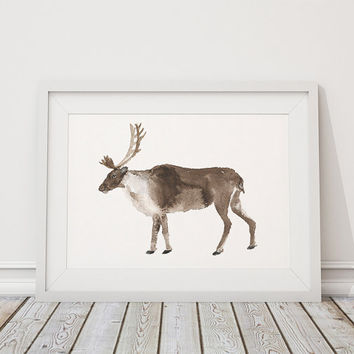 Watercolor deer print Nursery decor Animal art ACW9
