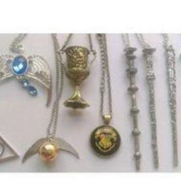 ONETOW 9 pcs Harry Potter Charms Necklaces Collectible Wands Golden Snitch Deathly Hallows