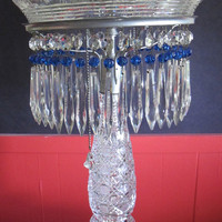 "Cut Glass 22"" crystal lamp 2 part Antique ABP"