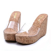 New Summer Transparent Platform Wedges Sandals Women Fashion High Heels Female Summer Shoes