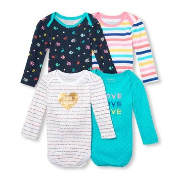 Baby Girls Long Sleeve 'LOVE' Printed Bodysuit 4-Pack