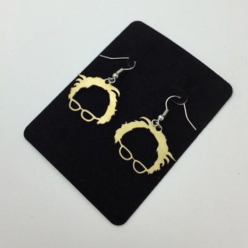 Bernie Sanders Brass Earrings, Silver Fish Hook Earrings, Jewelry earrings , Unique Pendant, Unique Jewelry, Presidential Election