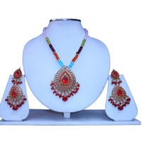 Buy Online Red Fashion Pendant Set with Beautiful Earrings