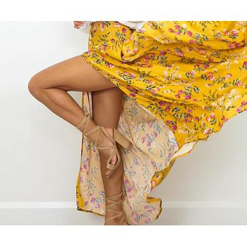 Boho style floral print long skirts womens bottoms Bohemian summer beach maxi skirt Elastic vintage chic skirt female