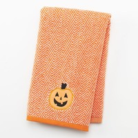 Halloween Pumpkin Chevron Hand Towel