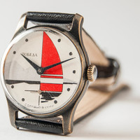 Unisex watch Pobeda/ZIM, rare, sport, red sail, silver mountains, Soviet Era