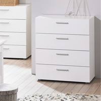 Contemporary Style White 4-Drawer Bedroom Bureau Storage Chest