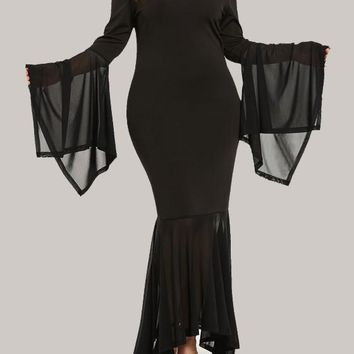Black Grenadine Draped Bodycon Mermaid Backless Flare Sleeve Elegant Party Maxi Dress