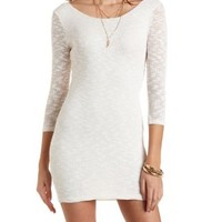 Three-Quarter Sleeve Slub Knit Dress by Charlotte Russe - Ivory Combo