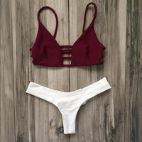 Sexy Strap Hollow Beach Bikini Set Swimsuit Swimwear