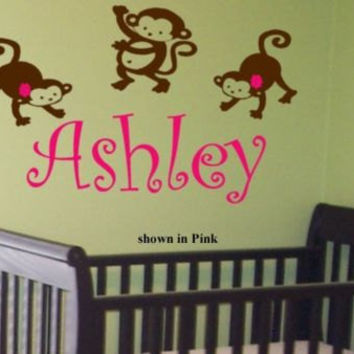 kids room Custom Name Personalized baby monkeys Nursery on vine letters Vinyl Wall lettering Decal