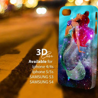 Ariel the little mermaid galaxy 3D 2 (c) 3D iPhone Case for iPhone 4/4S, iPhone 5/5S and,Samsung Galaxy S3, S4
