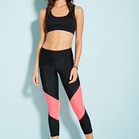Colorblock Mesh-Paneled Capri Leggings - Activewear - 2000131510 - Forever 21 UK