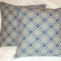 "Pillow Covers 16"" Set of Two - Nautical, Geometric Blue Circle Pattern"