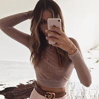 Women's Fashion Tops Long Sleeve Pullover Lace Hollow Out Sexy Club See Through T-shirts [196422369306]