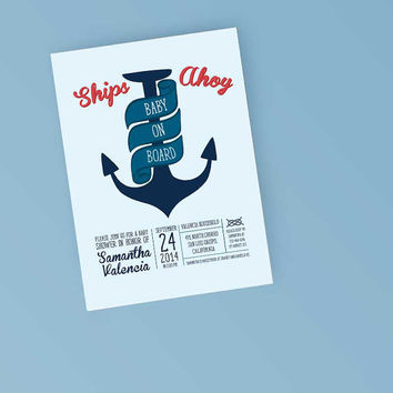 Printable Baby Shower Invitation - Nautical Anchor Invite