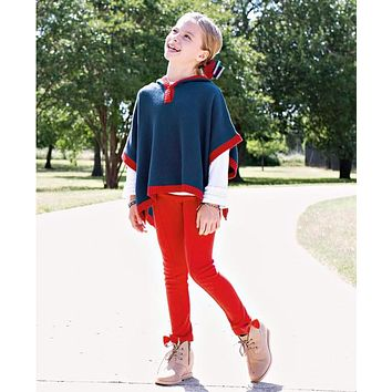 Ruffle Butts 2017 Fall Girls Navy & Red Sweater Cape