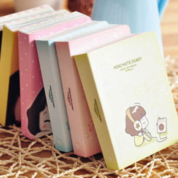 Cute Biscuits Girl Mini Diary Planner Pocket Journal School Study Notebook Kawaii Agenda Scheduler Memo Korean Study Gift
