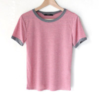 Striped Ringer Tee - Pink/Grey