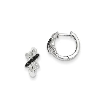 Black & White Diamond X Hinged Hoop Earrings in Sterling Silver 12mm