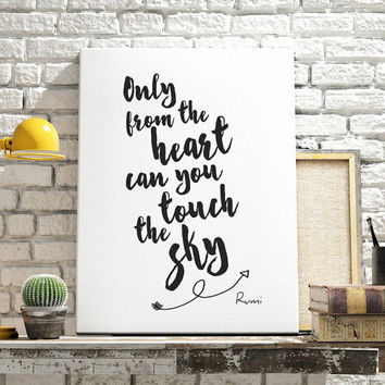 Printable Word Art, Only From The Heart Can You Touch The Sky, Printable Women Gift, Black White Wall Art,Typographic Print,Instant Download