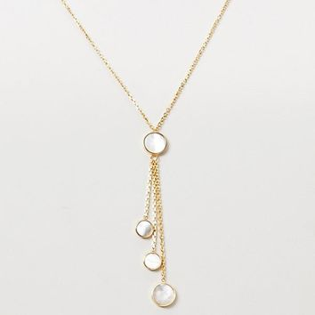 Honora 14K Yellow Gold Mother of Pearl Lariat Necklace