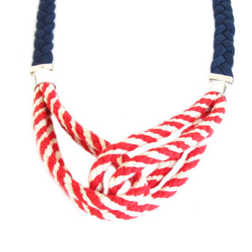 Navy Fabric Necklace, Nautical Fabric Necklace, Fabric Summer Necklace, Nautical Accessory, Jewelry, Rope Necklace, 4th of July