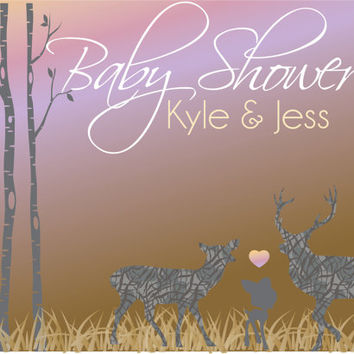 Deer Baby Shower Printable Invitation / Rustic Deer Baby Shower Invite/ Custom Country shower invitation