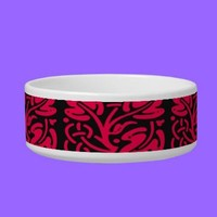 Red and Black Graphic Design Pet Bowl from Zazzle.com
