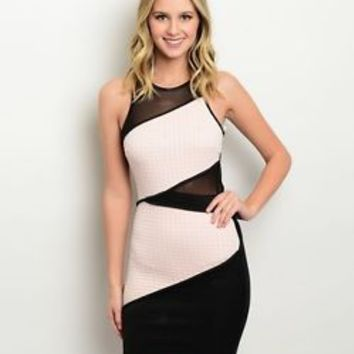Sexy Form Fitting Black & Peach Bodycon Mesh Party Dress - New Style