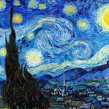 "VINCENT VAN GOGH poster reproduction of painting ""Starry Night"", 1889.print on canvas"