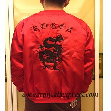 Embroidery Dragon Harajuku Japanese Darkness Unisex BF Red Satin Silky Down Jackets bomber baseball soft silk jacket embroidered