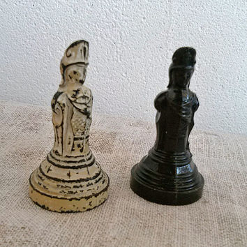 Set of 2 Vintage plastic chess piece, chess Bishop, white, black, Vintage, Toy, Game, Home decor, supplies, display, commercial, old