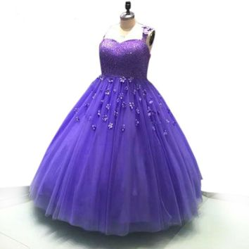 Purple Tulle Ball Gowns Beading Dress 3D Flower Appliques Spaghetti Strap Evening Dresses