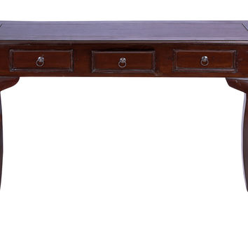 Traditional Wooden Console Table with Metal Pulls and Curved Legs