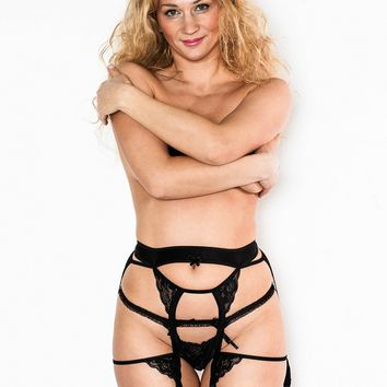 Black Garter Belt with Lace Triangles