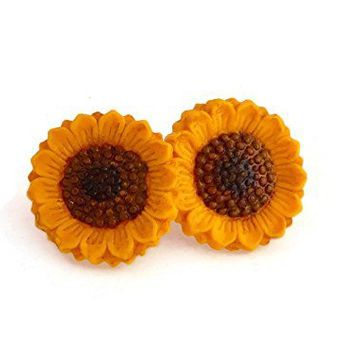 Handmade Hypoallergenic Sunflower Earrings for Sensitive Ears