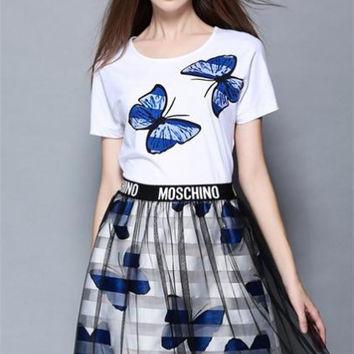Butterfly Printing Cotton Loose T-Shirt And Gauze Skirt Suit