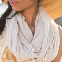 Ana Taupe Infinity Scarf with Trim
