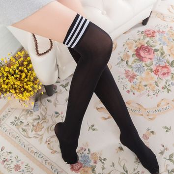 Women high quality tights Girl cute stockings School thigh high over knee Female Nylon thin longSock