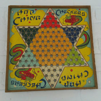 Vintage Hop Ching Chinese Checkers Game Board J.Pressman & Co. New York Wall Art