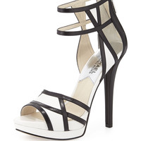 Jaida Back-Zip Platform Sandal, Black/Optic White - MICHAEL Michael Kors