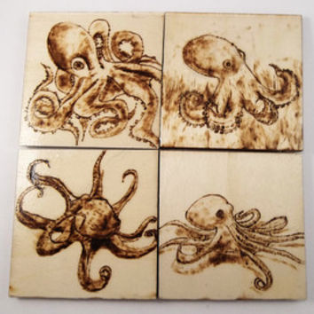 Octopus, Wood Coasters, Wooden Coasters, Wood Burning, Pyrography, Rustic, Decorative Decor, House Warming Gift, Wood Burned Coasters