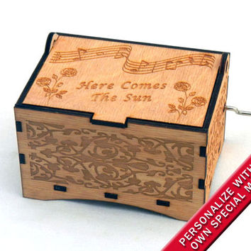 "Jewelry Music Box,  ""Here Comes The Sun"" by the Beatles, Laser Engraved Wood Hand Crank Storage Music Box"