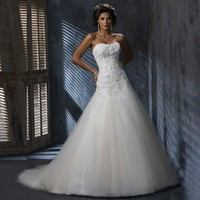 Applique Wedding Dresses Strapless Floor-length Tulle Appliques Bridal Gowns Vestidos de Novia